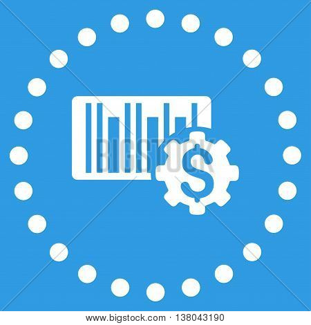 Barcode Price Setup vector icon. Style is flat circled symbol, white color, rounded angles, blue background.