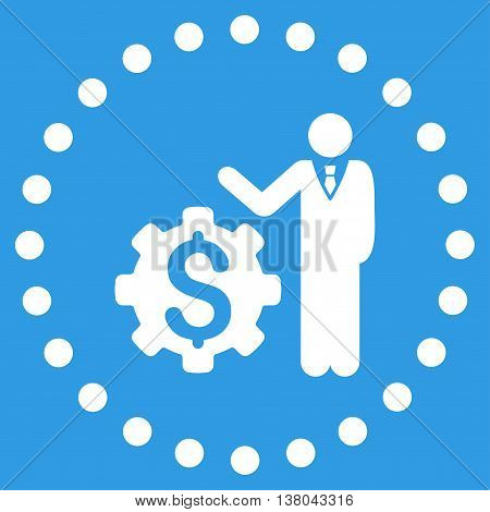 Businessman Options vector icon. Style is flat circled symbol, white color, rounded angles, blue background.