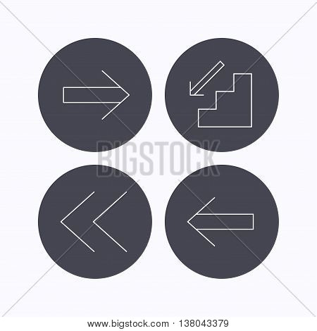 Arrows icons. Downstairs, next and back linear signs. Next, back arrows flat line icons. Flat icons in circle buttons on white background. Vector