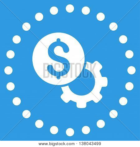 Development Cost vector icon. Style is flat circled symbol, white color, rounded angles, blue background.