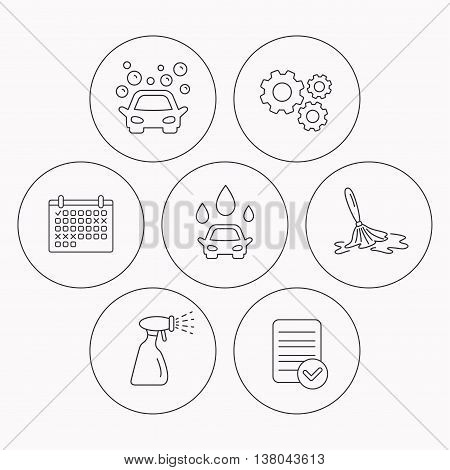 Car wash icons. Automatic cleaning station linear signs. Wet cleaning and spray flat line icons. Check file, calendar and cogwheel icons. Vector