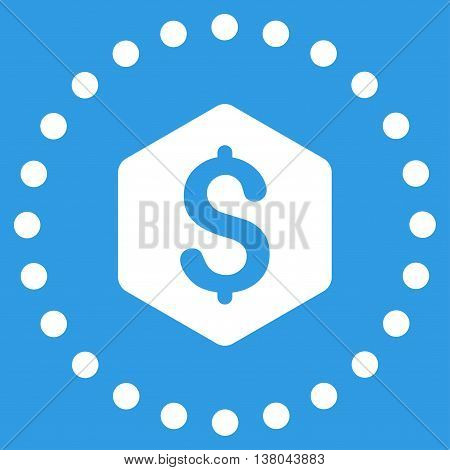 Dollar Hexagon vector icon. Style is flat circled symbol, white color, rounded angles, blue background.