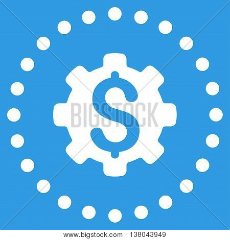 Dollar Options vector icon. Style is flat circled symbol, white color, rounded angles, blue background.