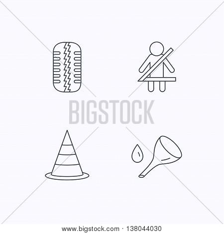 Tire tread, traffic cone and oil change icons. Fasten seat belt linear sign. Flat linear icons on white background. Vector