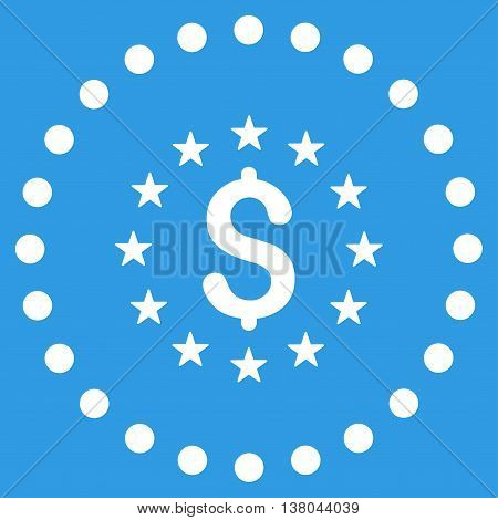 Dollar Stars vector icon. Style is flat circled symbol, white color, rounded angles, blue background.