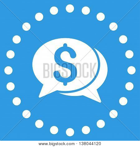 Financial Chat vector icon. Style is flat circled symbol, white color, rounded angles, blue background.