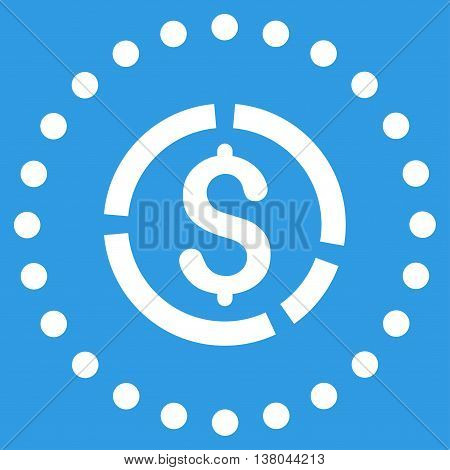 Financial Diagram vector icon. Style is flat circled symbol, white color, rounded angles, blue background.