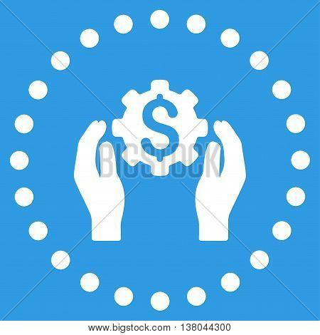 Financial Insurance Options vector icon. Style is flat circled symbol, white color, rounded angles, blue background.