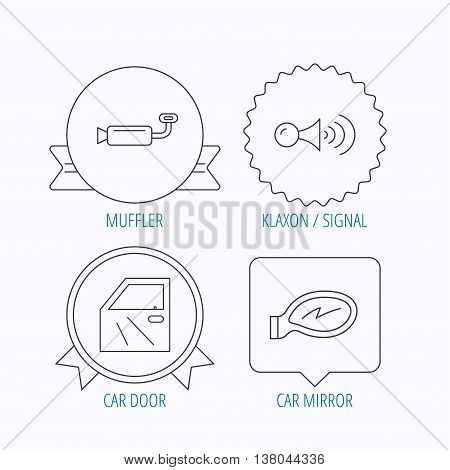 Car door, muffler and klaxon signal icons. Car mirror linear sign. Award medal, star label and speech bubble designs. Vector