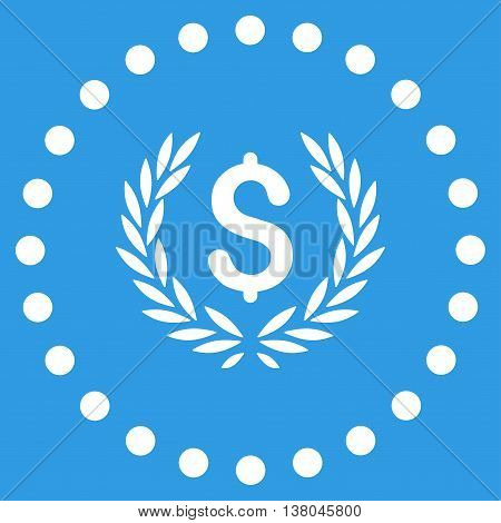 Laurel Bank Emblem vector icon. Style is flat circled symbol, white color, rounded angles, blue background.