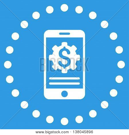 Mobile Bank Options vector icon. Style is flat circled symbol, white color, rounded angles, blue background.