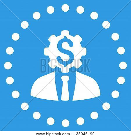 Office Worker vector icon. Style is flat circled symbol, white color, rounded angles, blue background.