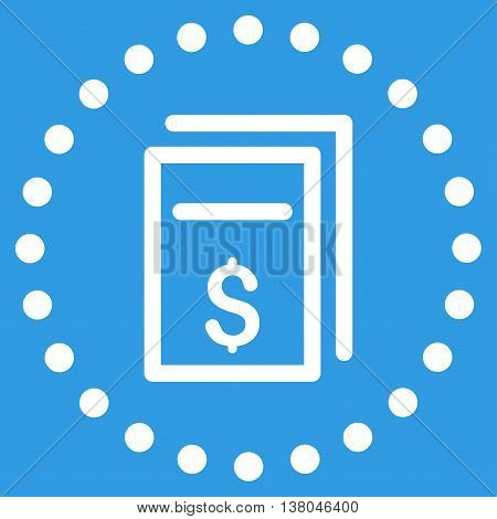 Price Copy vector icon. Style is flat circled symbol, white color, rounded angles, blue background.