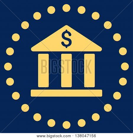 Bank Building vector icon. Style is flat circled symbol, yellow color, rounded angles, blue background.