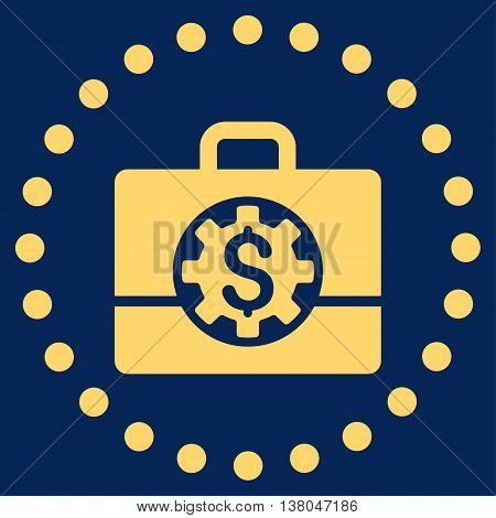 Bank Career Options vector icon. Style is flat circled symbol, yellow color, rounded angles, blue background.