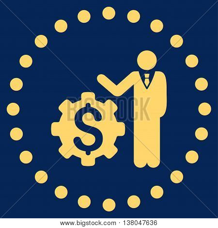 Businessman Options vector icon. Style is flat circled symbol, yellow color, rounded angles, blue background.