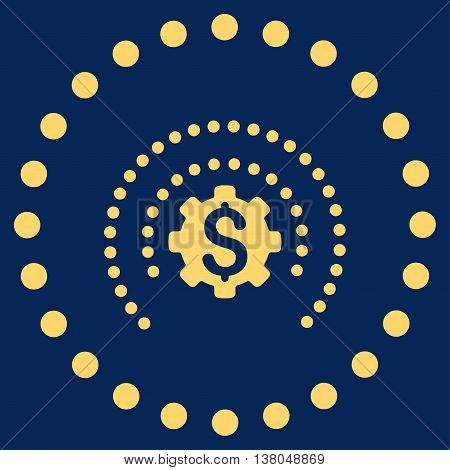 Financial Industry Protection vector icon. Style is flat circled symbol, yellow color, rounded angles, blue background.