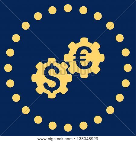 Financial Mechanics vector icon. Style is flat circled symbol, yellow color, rounded angles, blue background.