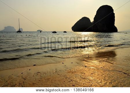 Railay beach in Krabi Thailand during sunshine