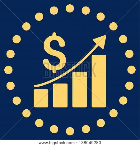 Financial Report vector icon. Style is flat circled symbol, yellow color, rounded angles, blue background.