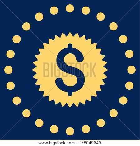 Financial Stamp vector icon. Style is flat circled symbol, yellow color, rounded angles, blue background.