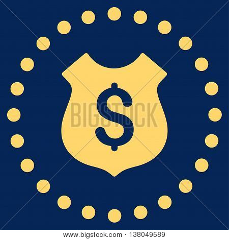 Financial Shield vector icon. Style is flat circled symbol, yellow color, rounded angles, blue background.