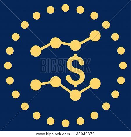 Financial Trends vector icon. Style is flat circled symbol, yellow color, rounded angles, blue background.