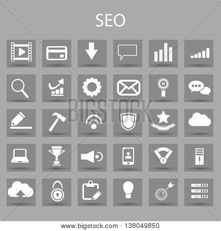 Vector flat icons set and graphic design elements. Illustration with SEO outline symbols. Digital network, analytics, social media and market linear pictogram