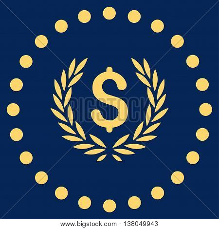 Laurel Bank Emblem vector icon. Style is flat circled symbol, yellow color, rounded angles, blue background.
