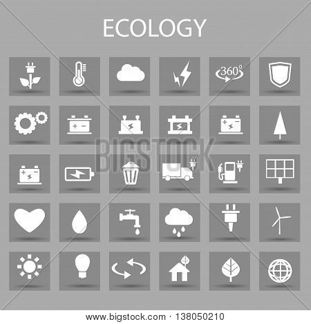 Vector flat color icons set and graphic design elements. Illustration with ecology outline symbols. Eco, bio, environmental, wind power, recycle linear pictogram
