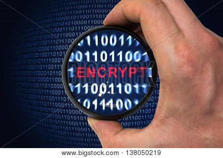 Computer security and encryption concept. Encrypt word inside magnifying glass in binary code.