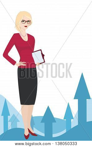 Political strategist on a white background. Specialist in public relations coordinator PR Manager and etc. Isolated vector illustration. Vertical location.