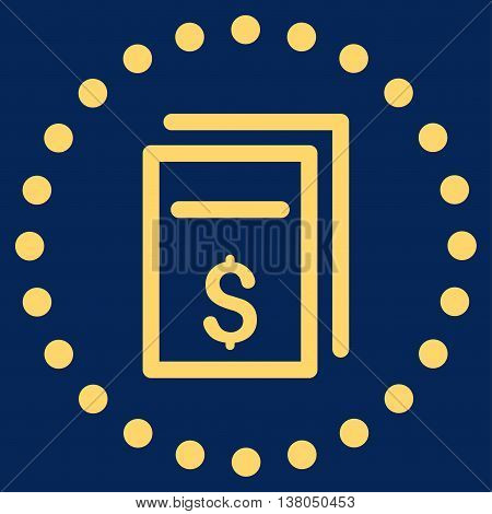 Price Copy vector icon. Style is flat circled symbol, yellow color, rounded angles, blue background.