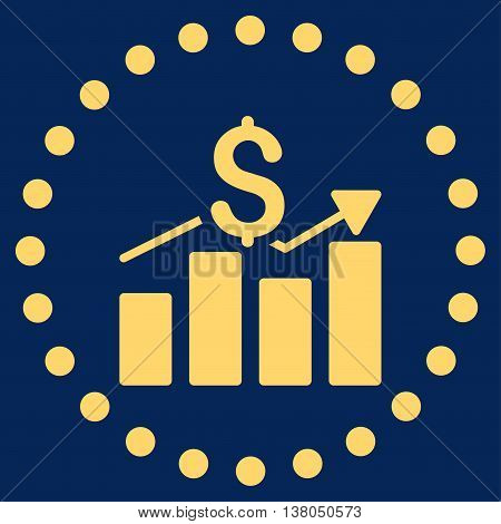 Sales Bar Chart vector icon. Style is flat circled symbol, yellow color, rounded angles, blue background.