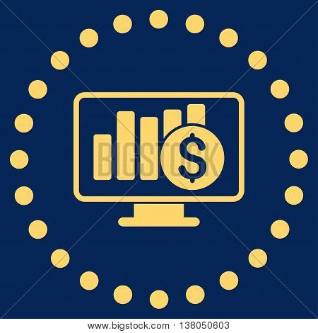 Stock Market Monitoring vector icon. Style is flat circled symbol, yellow color, rounded angles, blue background.
