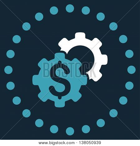 Bank Settings vector icon. Style is bicolor flat circled symbol, blue and white colors, rounded angles, dark blue background.