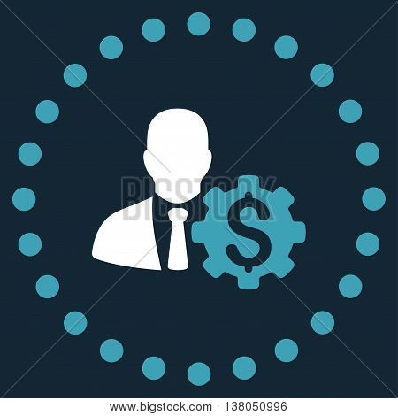 Banker Options vector icon. Style is bicolor flat circled symbol, blue and white colors, rounded angles, dark blue background.