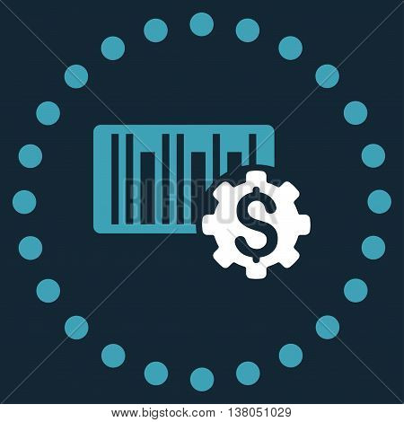 Barcode Price Setup vector icon. Style is bicolor flat circled symbol, blue and white colors, rounded angles, dark blue background.