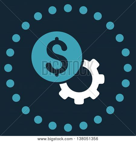 Development Cost vector icon. Style is bicolor flat circled symbol, blue and white colors, rounded angles, dark blue background.