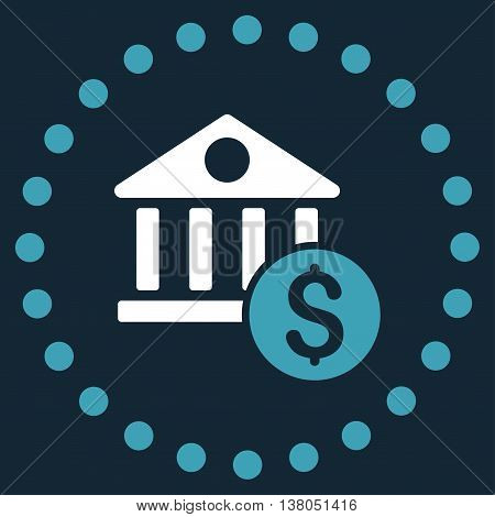 Dollar Bank vector icon. Style is bicolor flat circled symbol, blue and white colors, rounded angles, dark blue background.