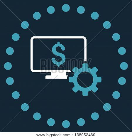 Financial Monitoring Options vector icon. Style is bicolor flat circled symbol, blue and white colors, rounded angles, dark blue background.