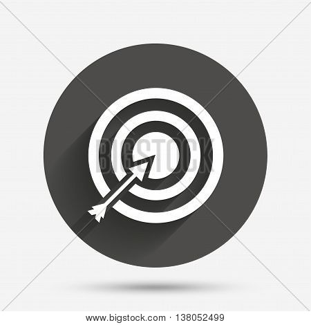 Target aim sign icon. Darts board with arrow symbol. Circle flat button with shadow. Vector