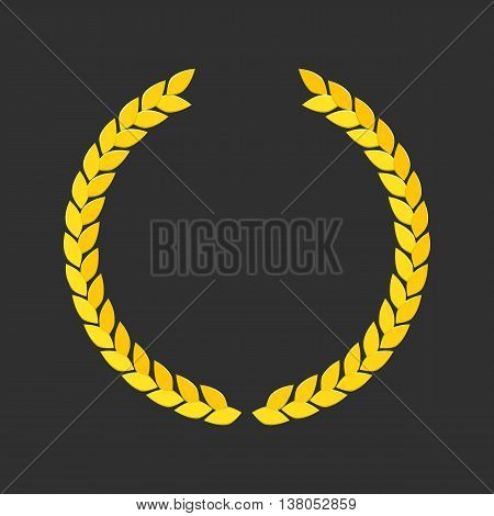 Vector illustration of a laurel wreath. Vector gold laurel wreath pattern in modern style. Laurel wreath vector icon in a flat style. Pictograph is golden laurel wreath.