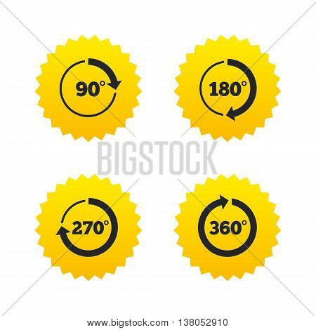 Angle 45-360 degrees circle icons. Geometry math signs symbols. Full complete rotation arrow. Yellow stars labels with flat icons. Vector