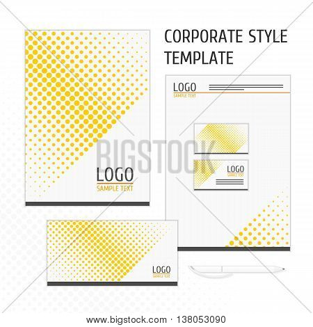 Corporate identity template with digital elements. Modern design elements of corporate identity - the folder, business card, envelope and letterhead. Vector company style for brandbook and guideline.