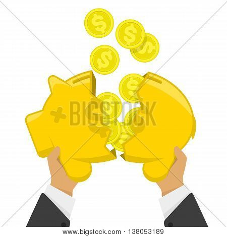 Vector illustration broken piggy bank. Flat vector illustration business concept. Broken piggy bank from which poured the coins money.