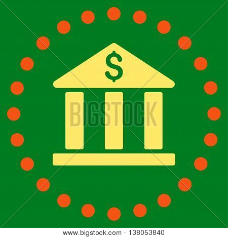 Bank Building vector icon. Style is bicolor flat circled symbol, orange and yellow colors, rounded angles, green background.