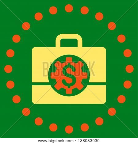 Bank Career Options vector icon. Style is bicolor flat circled symbol, orange and yellow colors, rounded angles, green background.