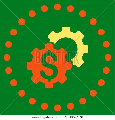 Bank Settings vector icon. Style is bicolor flat circled symbol, orange and yellow colors, rounded angles, green background.