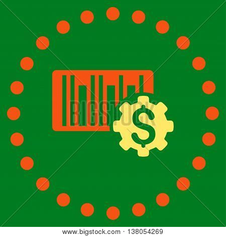 Barcode Price Setup vector icon. Style is bicolor flat circled symbol, orange and yellow colors, rounded angles, green background.